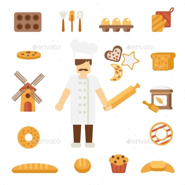 Baker Icons Flat - Food Objects