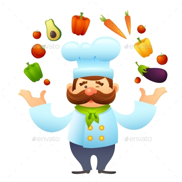 Chef With Vegetables - Food Objects