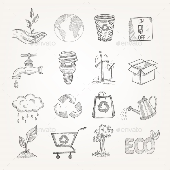 Doodles Ecology Set - Decorative Vectors