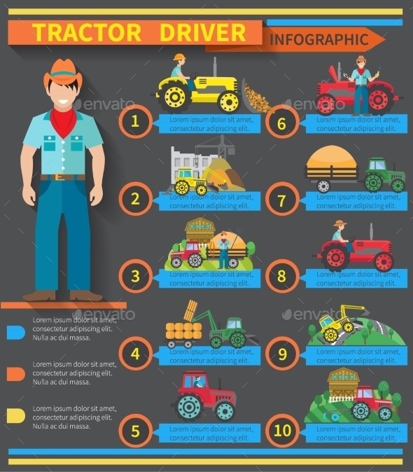 Tractor Driver Infographics - Technology Conceptual