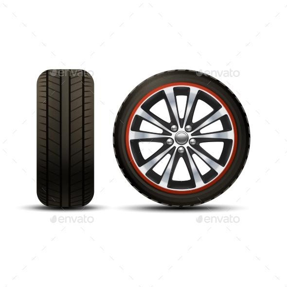 Car Wheel Realistic - Objects Vectors