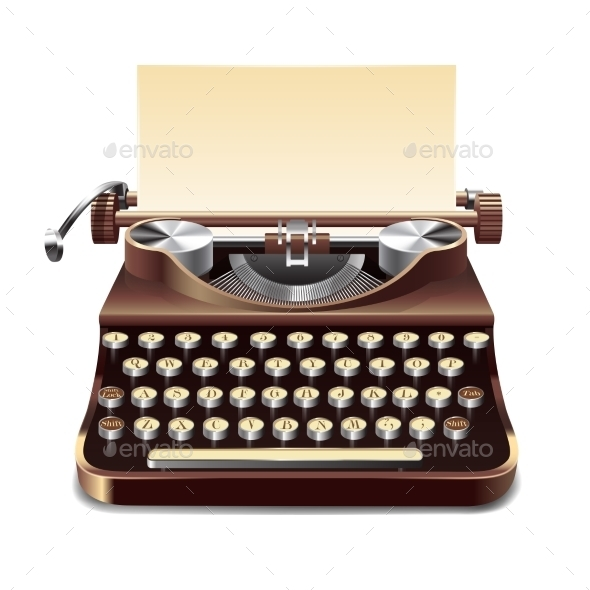 Typewriter Realistic Illustration - Objects Vectors