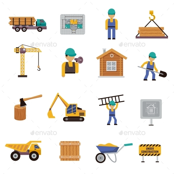 Construction Icon Flat - Buildings Objects