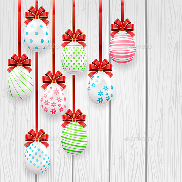 Easter Eggs on Wooden Background - Miscellaneous Seasons/Holidays