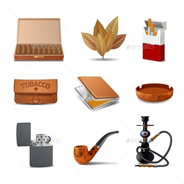 Tobacco Icon Set - Objects Vectors