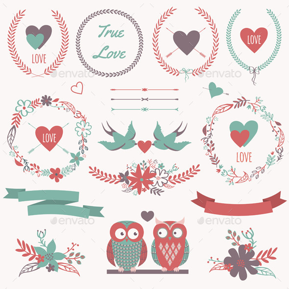 Romantic Set with Decorative Elements - Decorative Vectors