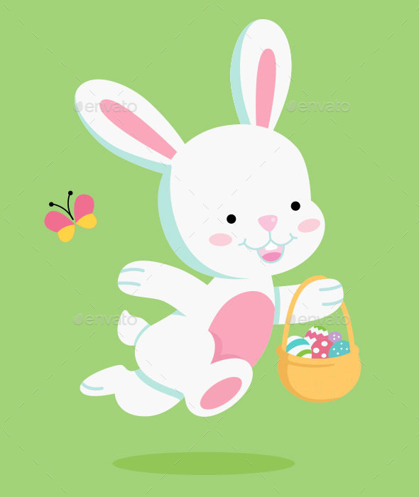 Easter Bunny carrying Easter Basket - Vectors