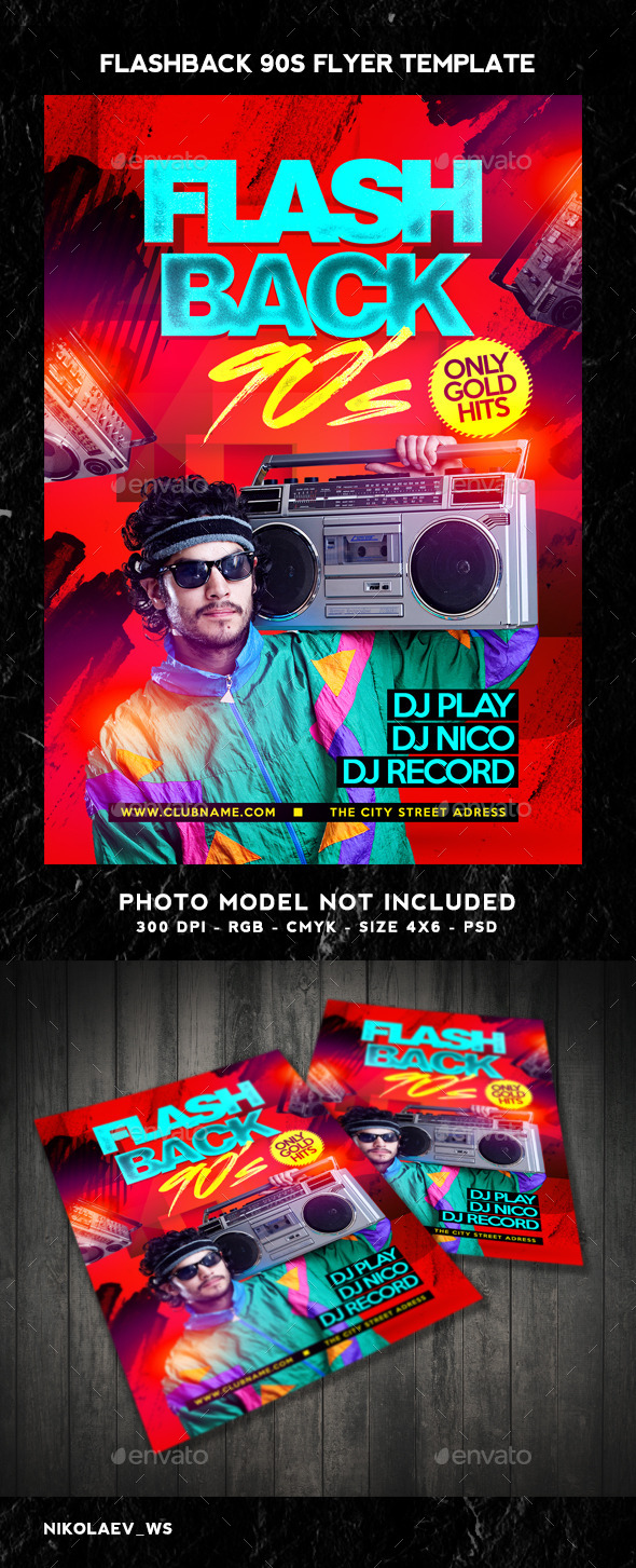 Flash Back 90s Flyer - Clubs & Parties Events