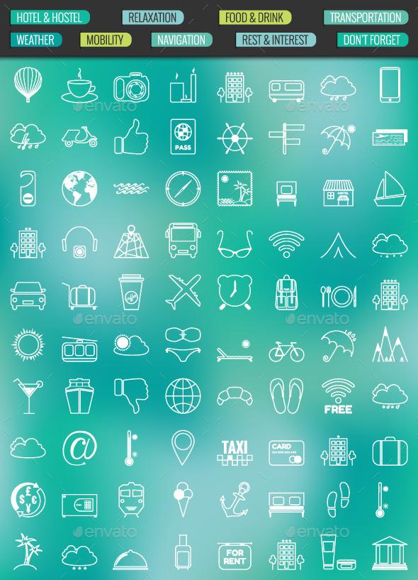 80 Contour Icons Set - Travel Conceptual