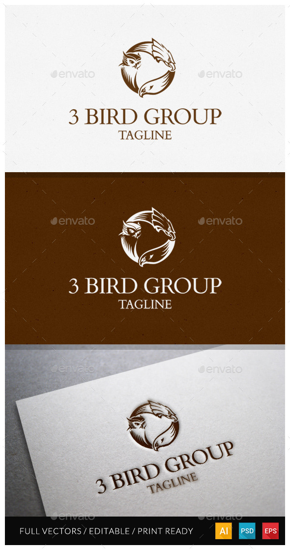 3 Bird Group Logo Template - Animals Logo Templates