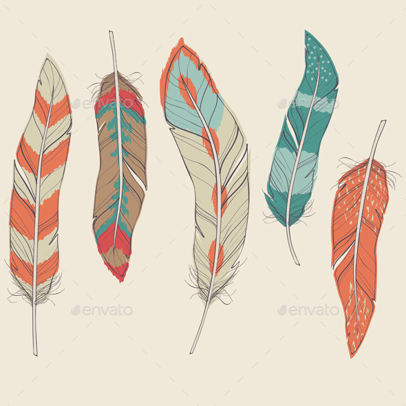 Set of Decorative Feathers - Abstract Conceptual