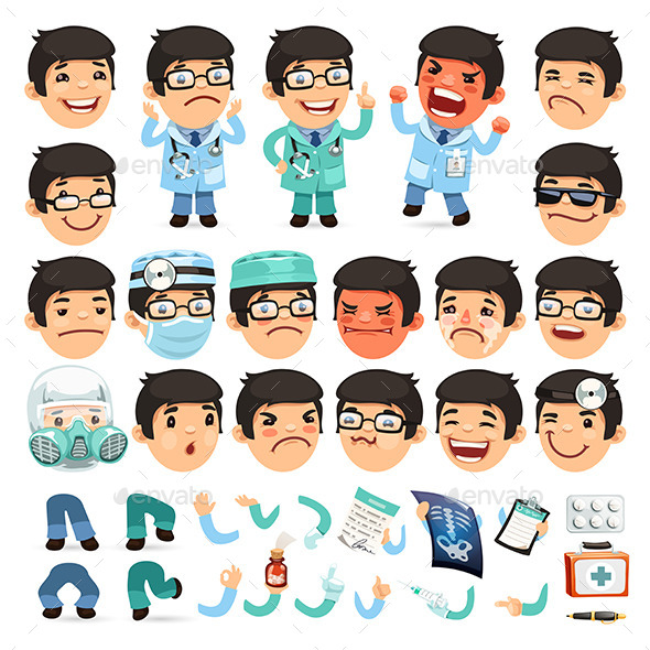 Set of Cartoon Doctor Characters - People Characters