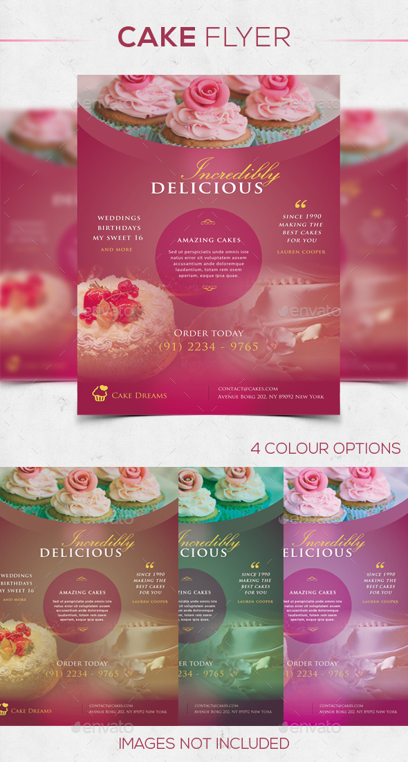 Cake Flyer in 4 Colors - Commerce Flyers