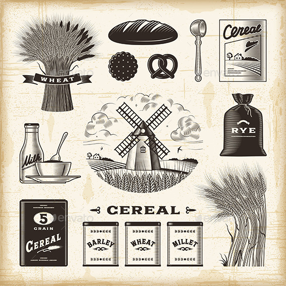 Vintage Cereal Set - Food Objects
