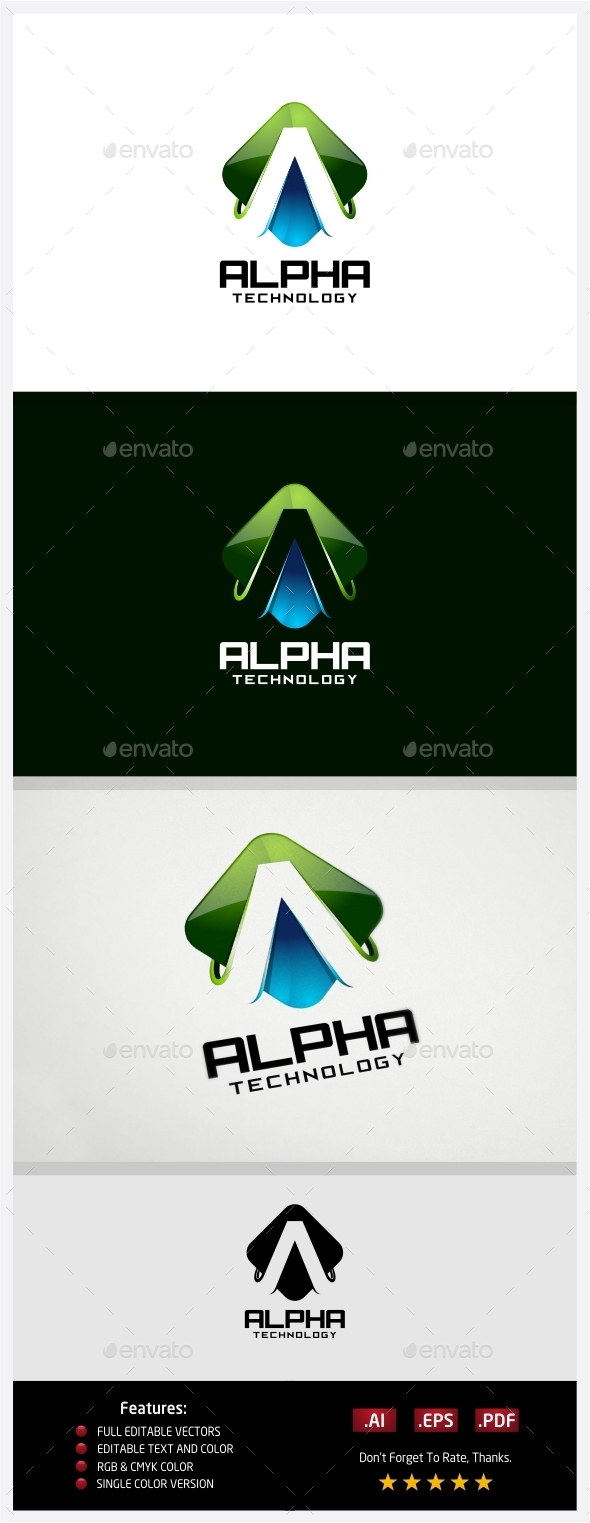 Alpha Technology Logo - 3d Abstract