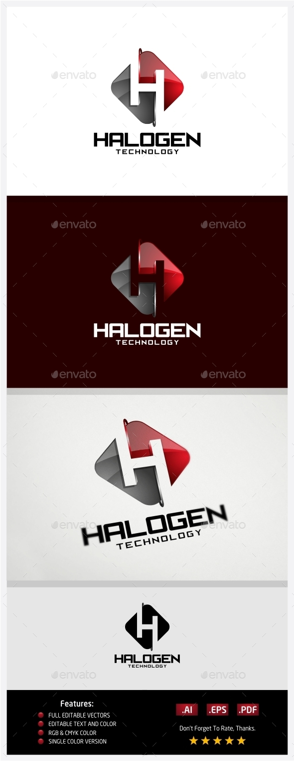 Halogen Technology Logo - 3d Abstract