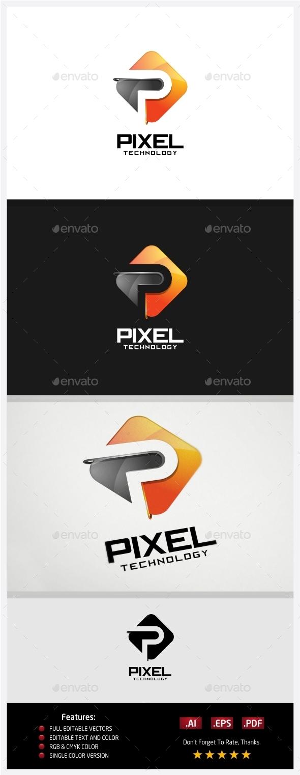 Pixel Technology Logo - 3d Abstract