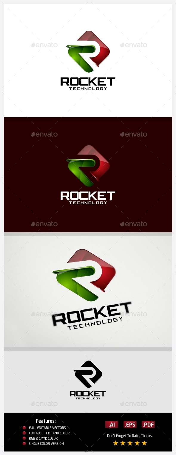Rocket Technology Logo - 3d Abstract