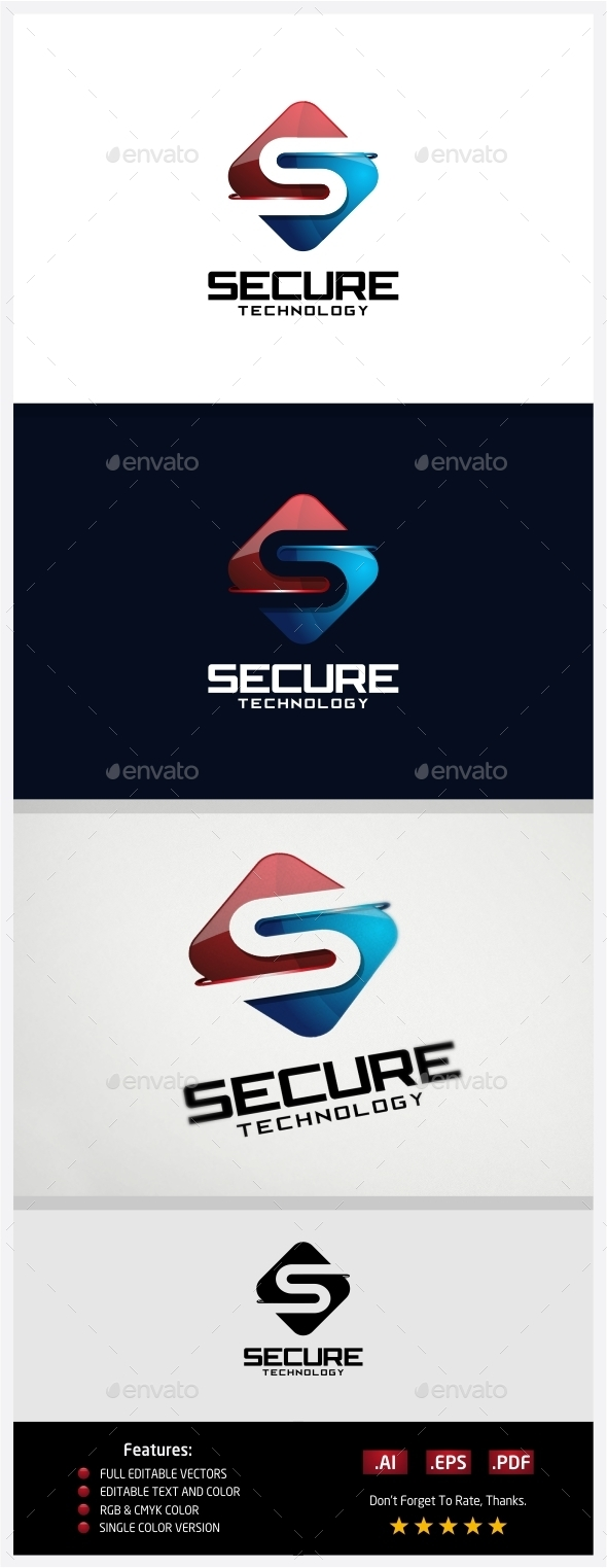 Secure Technology Logo - 3d Abstract