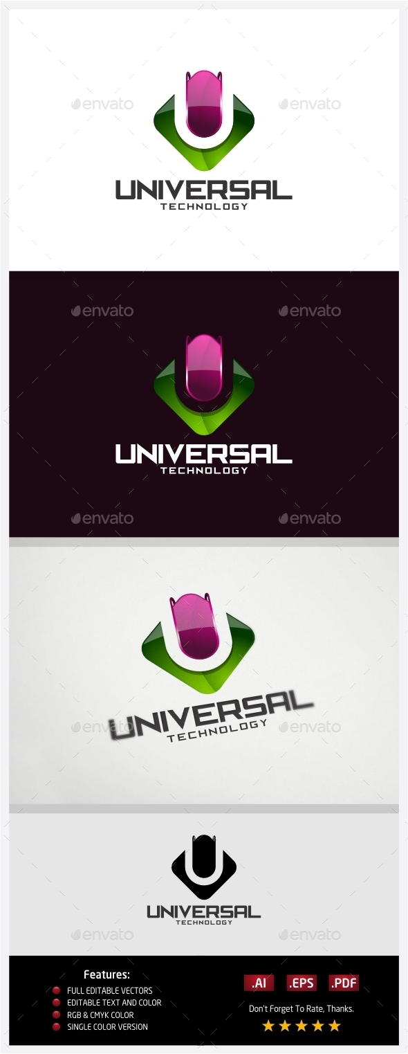 Universal Technology Logo - 3d Abstract