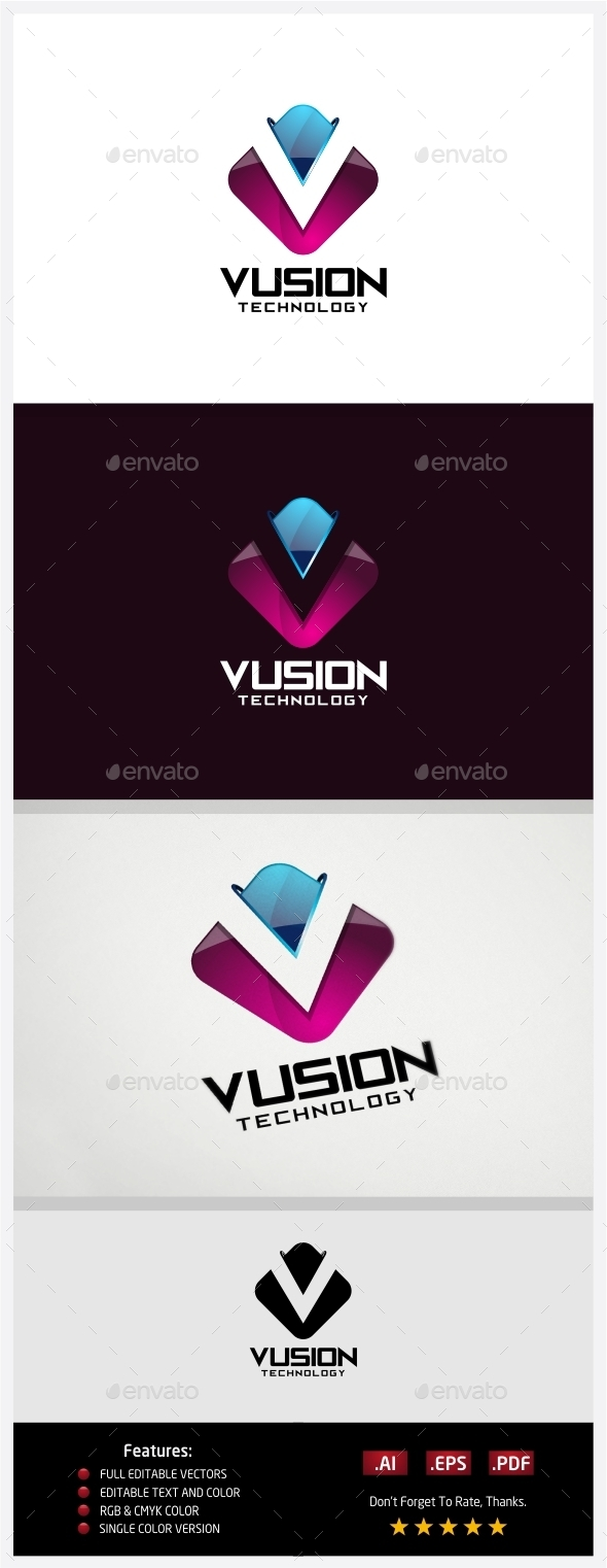 Vusion Technology Logo - 3d Abstract