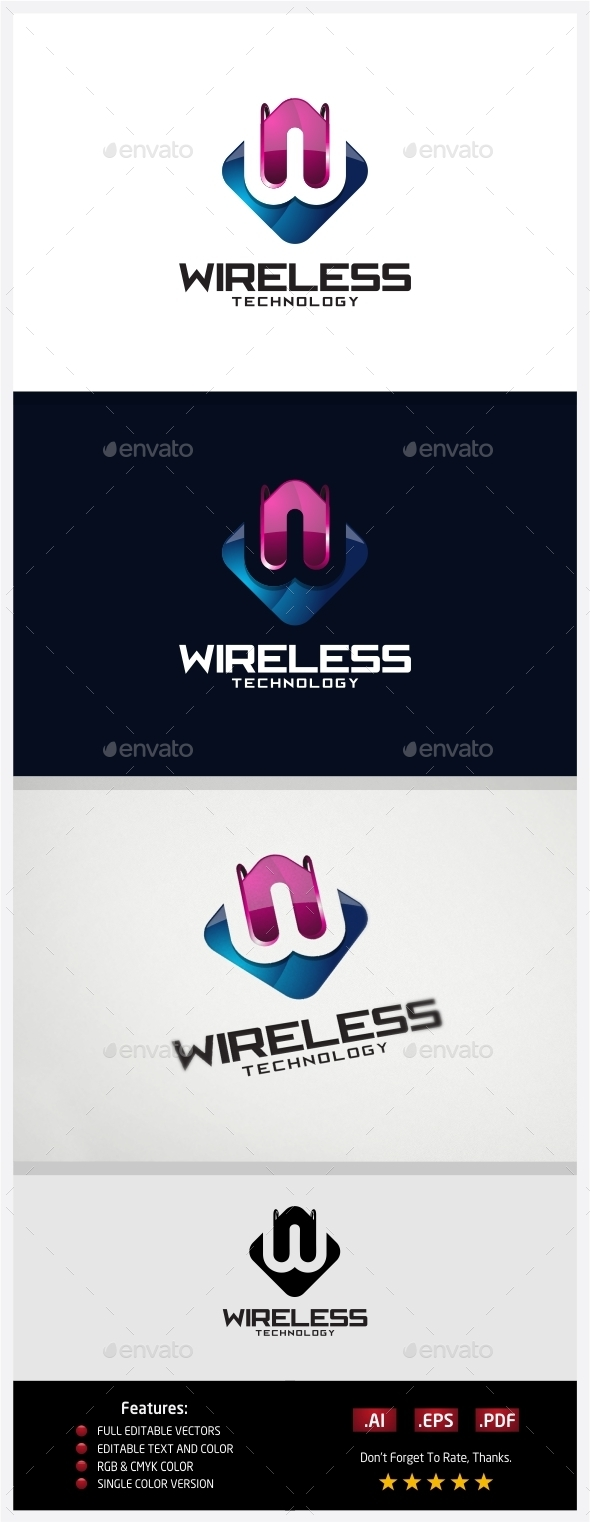 Wireless Technology Logo - 3d Abstract