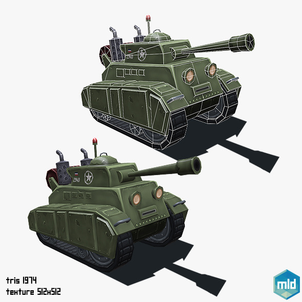 Low Poly Cartoon Tank - 3DOcean Item for Sale