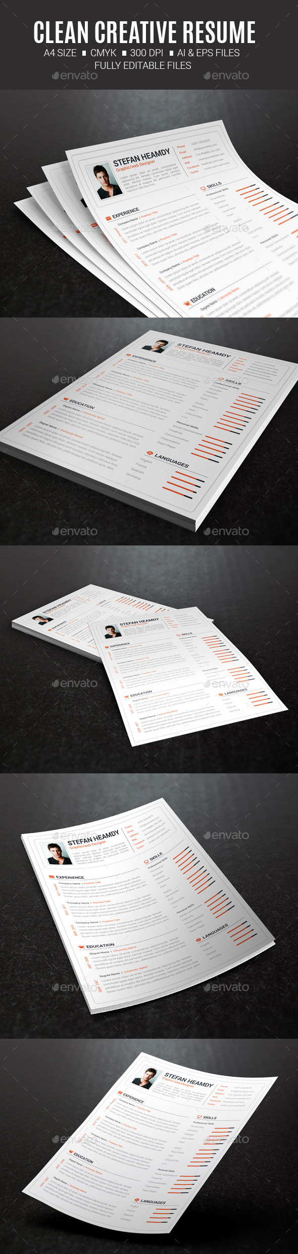 Clean Creative Resume - Resumes Stationery