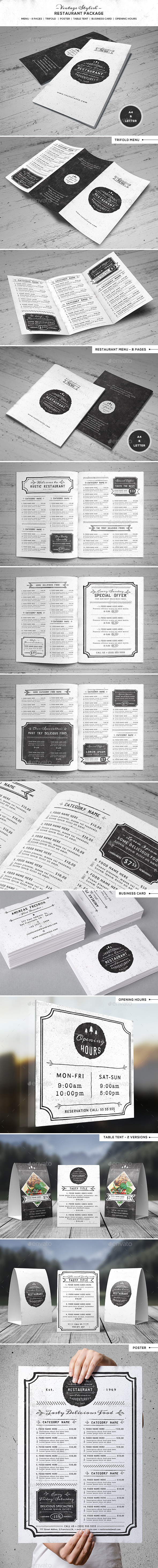 Vintage Stiylish Restaurant Package - Food Menus Print Templates