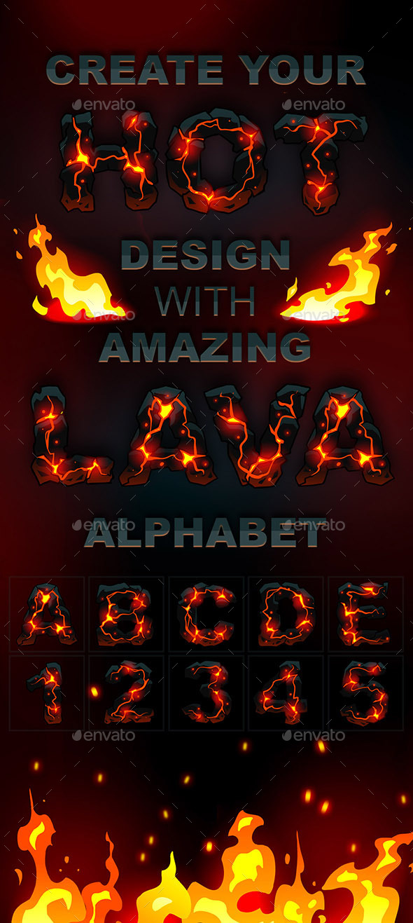 Lava Handdraw Alphabet - Decorative Vectors