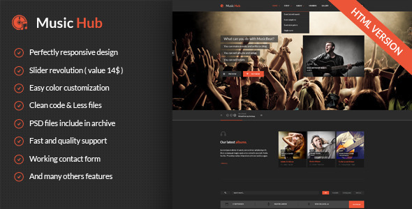 MusicHub – Music/Band/Club/Party Responsive Template