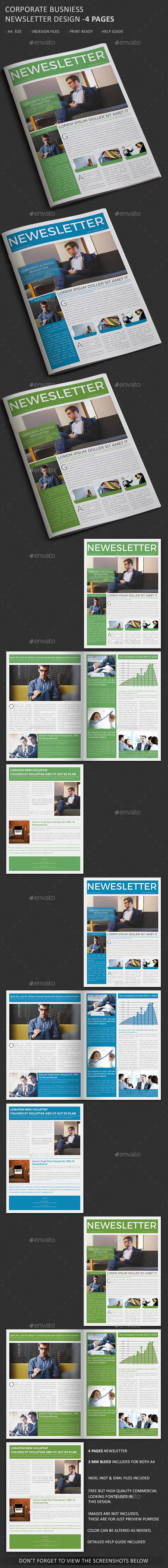 Corporate Business Newsletter - 4 Page  - Newsletters Print Templates