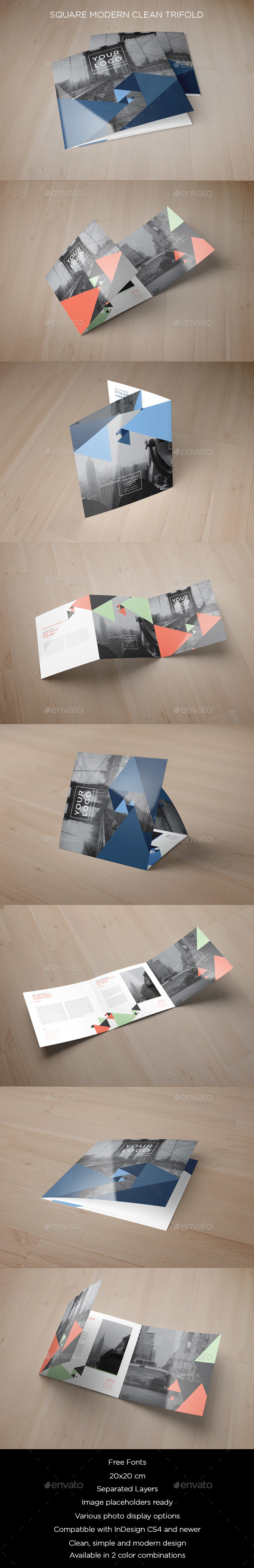Square Blue Triangles Pattern Trifold - Brochures Print Templates