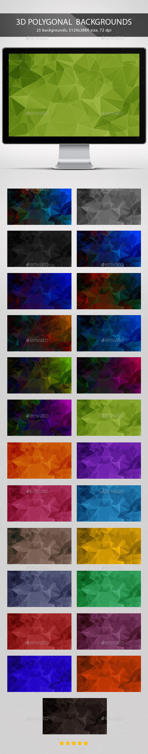 3D Polygonal Backgrounds - Abstract Backgrounds