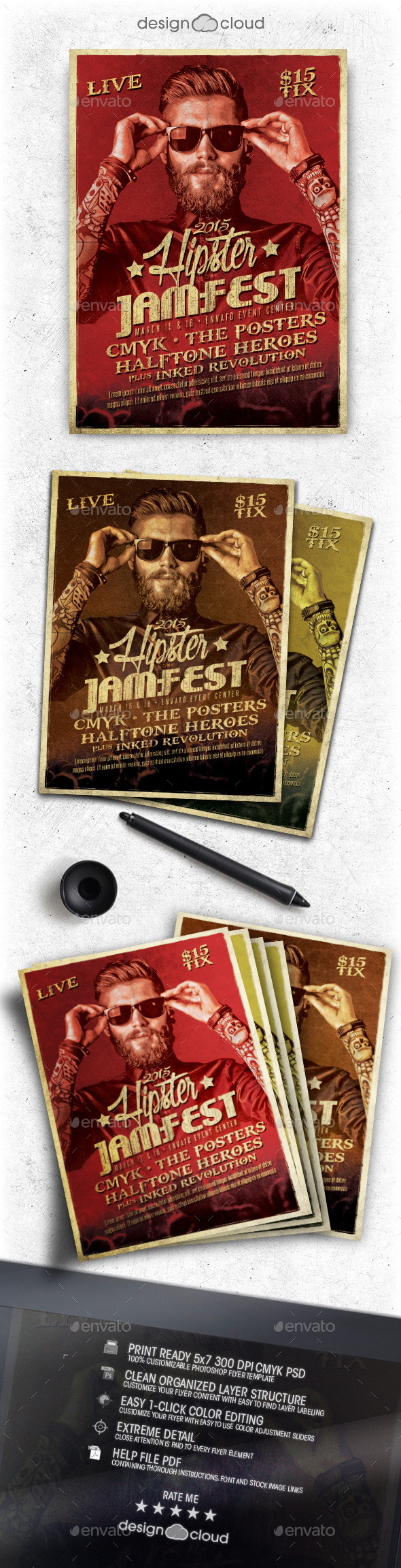 Hipster Jam Fest Flyer/Poster Template - Concerts Events