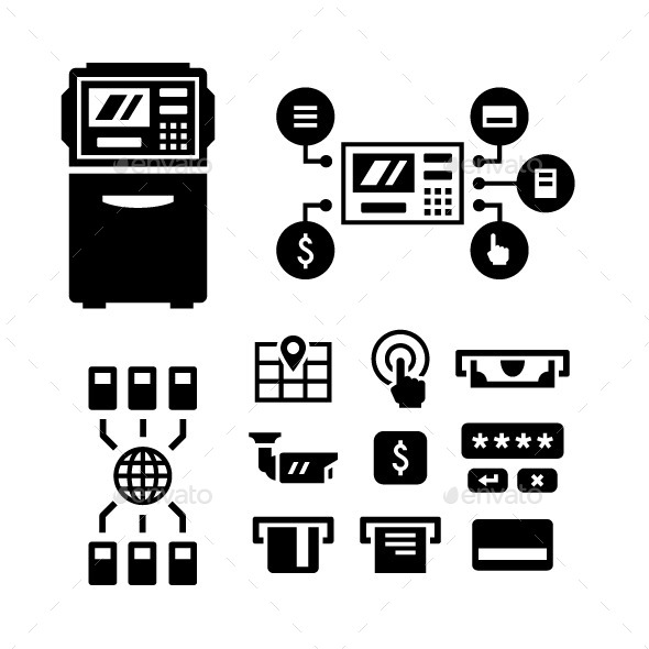 Set Icons of ATM - Man-made objects Objects