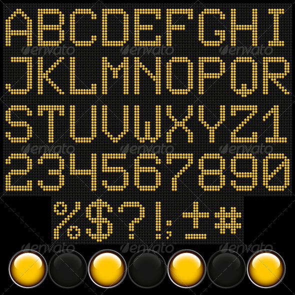 Yellow Button Letters - Decorative Vectors