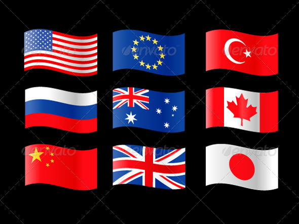 Nine Country Flags - Decorative Vectors