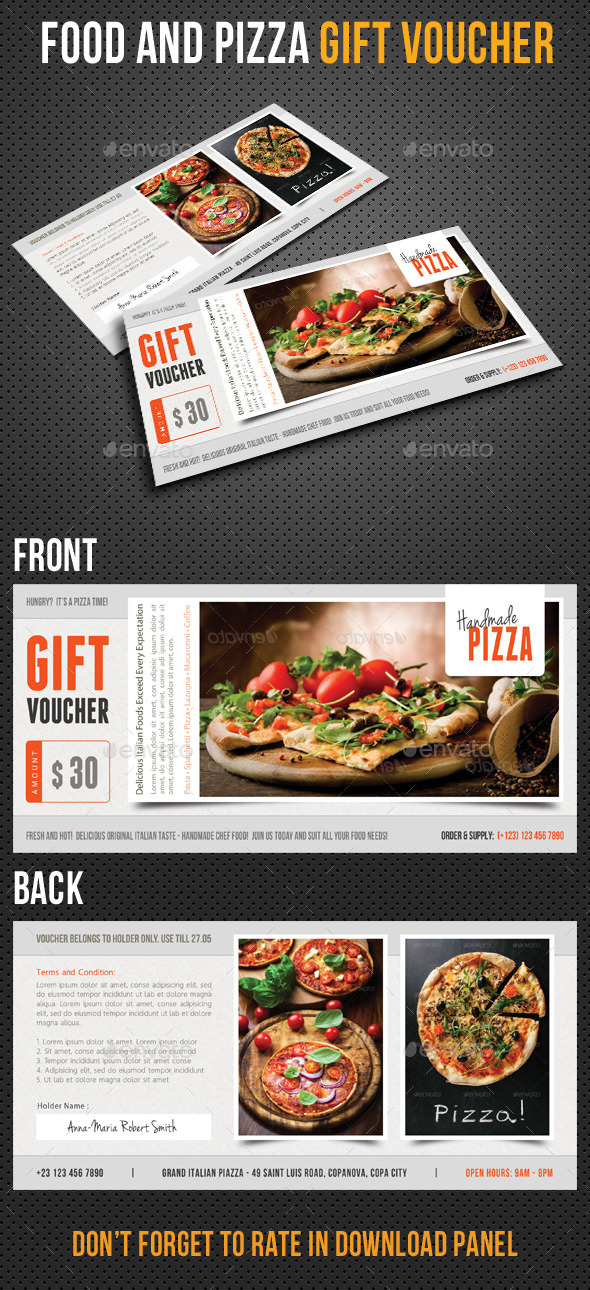 Food and Pizza Gift Voucher V01 - Cards & Invites Print Templates