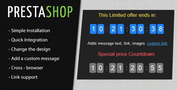 Prestashop Countdown Discount Timer Module - CodeCanyon Item for Sale