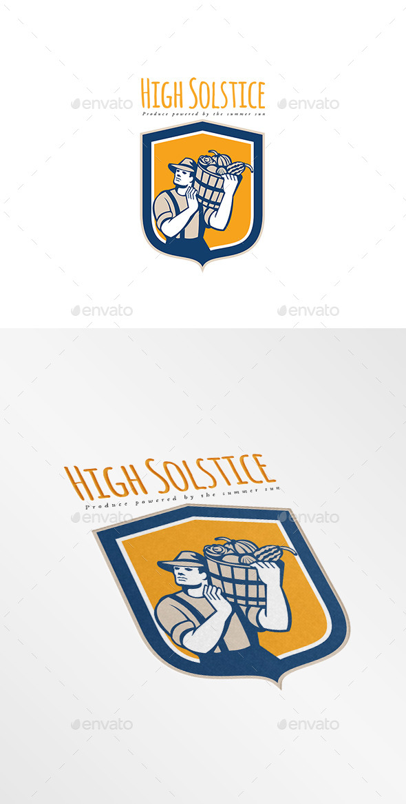 High Solstice Organic Farm Produce Logo - Humans Logo Templates