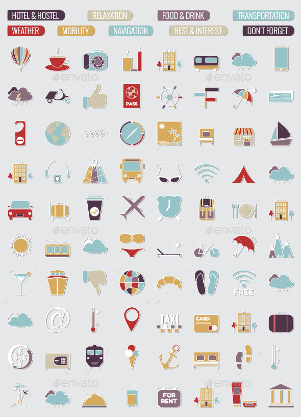 80 Travel Icons Set - Travel Conceptual