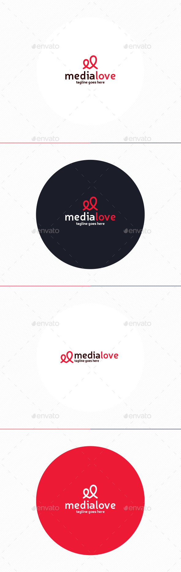 Media Love Logo • Letter M - Symbols Logo Templates
