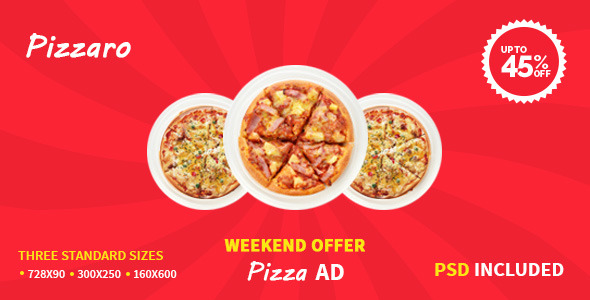 pizza sale flyer template - pizza offer html5 google ad template by 0effortthemes