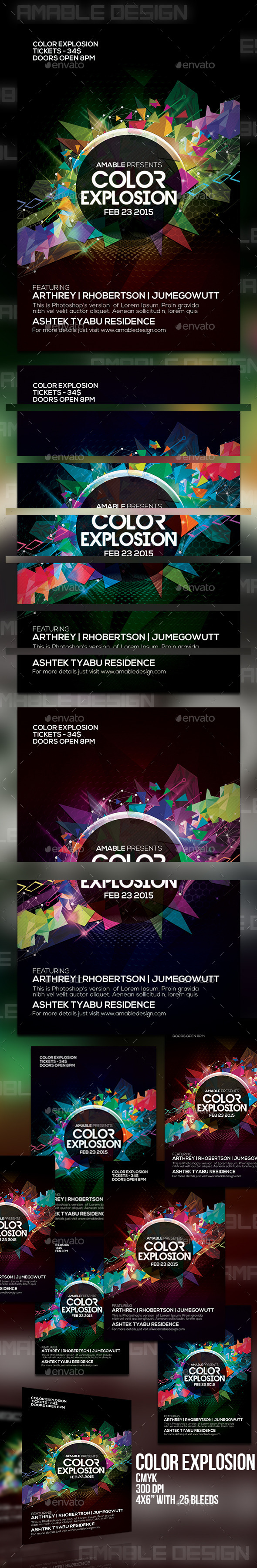 Color Explosion Flyer - Clubs & Parties Events
