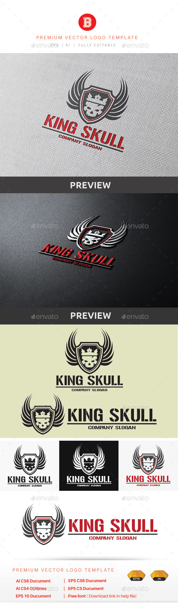 King Skull - Humans Logo Templates