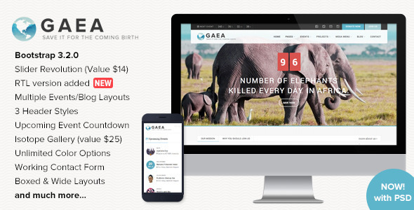 GAEA – Responsive Environmental HTML5 Template