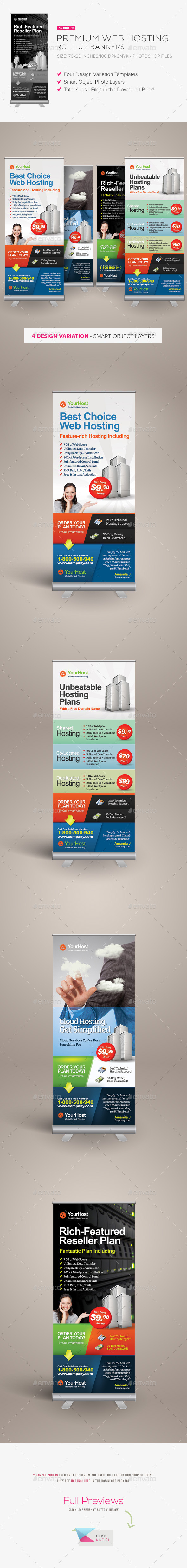 Premium Web Hosting Roll-up Banners - Signage Print Templates