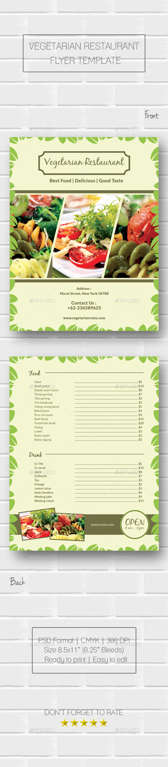 Vegetarian Restaurant Flyer - Food Menus Print Templates