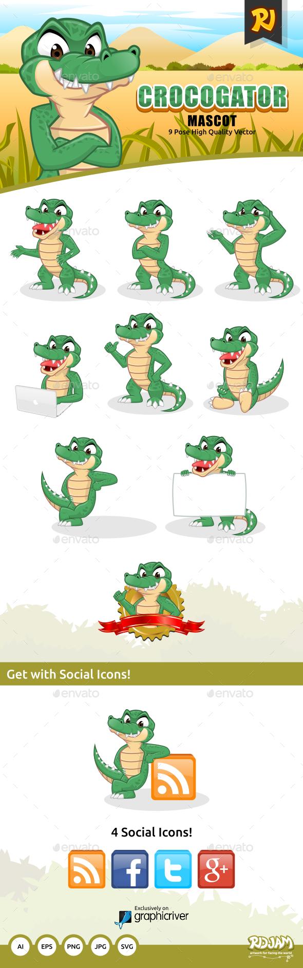 Crocogator Mascot - Animals Characters
